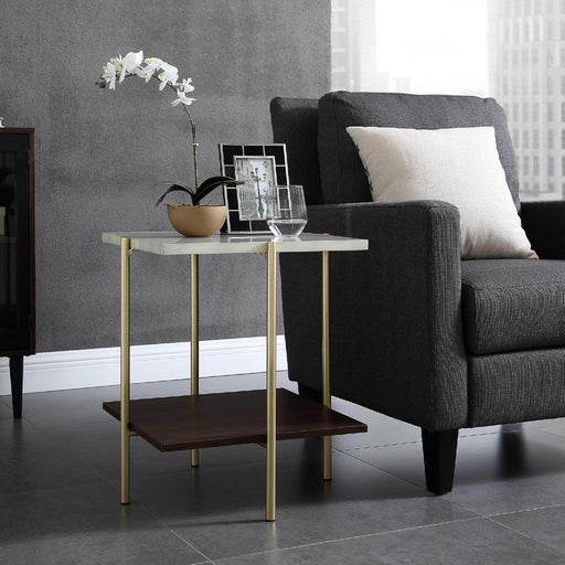 Walker Edison Side Table Faux White Marble/Dark Walnut/Gold Mid Century Modern Square Side Table - Faux White Marble/Dark Walnut/Gold