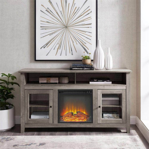 "Walker Edison TV Stand Grey Wash 58"" Transitional Fireplace Glass Wood TV Stand - Grey Wash"