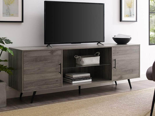 "Walker Edison TV Stand Slate Grey 70"" Mid Century Modern TV Stand - Slate Grey"