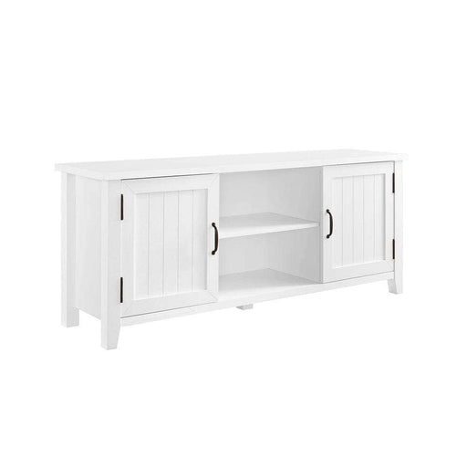 "Walker Edison TV Stand Solid White 58"" Grooved Door TV Console - Solid White"