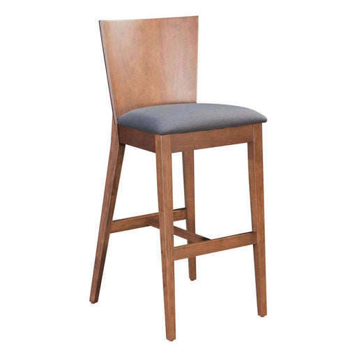 Zuo Modern Bar Stool Ambrose Bar Stool Walnut & Dark Gray (Includes 2 per Box)
