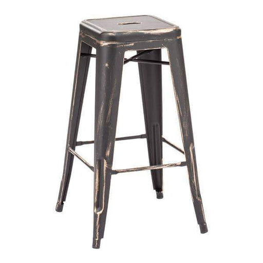 Zuo Modern Bar Stool Antique Black Gold Marius Bar Stool (Includes 2 per Box)