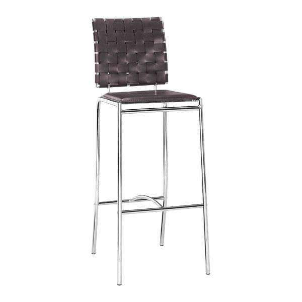 Zuo Modern Bar Stool Espresso Criss Cross Bar Stool (Includes 2 per Box)