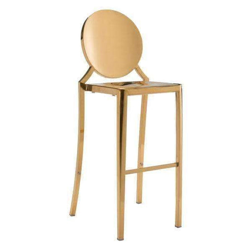Zuo Modern Bar Stool Gold Eclipse Bar Chair (Includes 2 per Box)