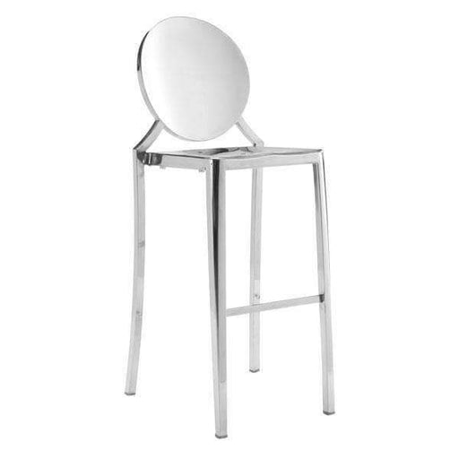 Zuo Modern Bar Stool Stainless Steel Eclipse Bar Chair (Includes 2 per Box)