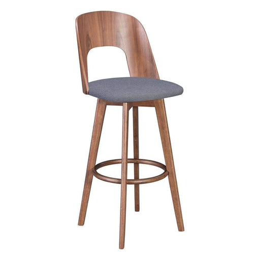 Zuo Modern Bar Stool Walnut & Dark Gray Anton Bar Stool (Includes 2 per Box)