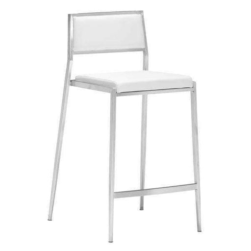 Zuo Modern Bar Stool White Dolemite Counter Chair (Includes 2 per Box)