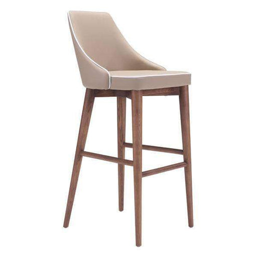 Zuo Modern Beige Moor Bar Chair