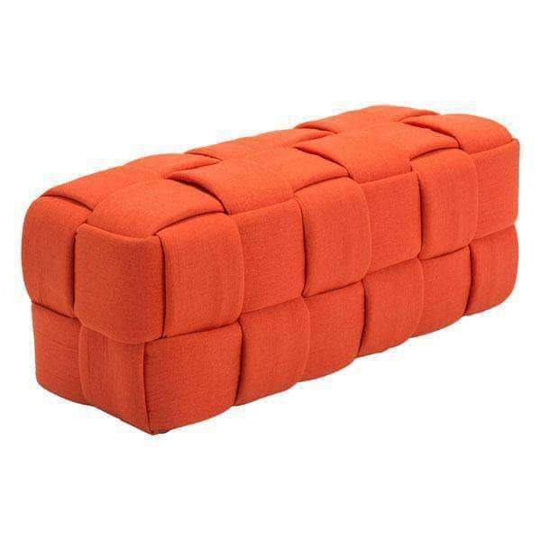 Zuo Modern Bench Orange Checks Bench