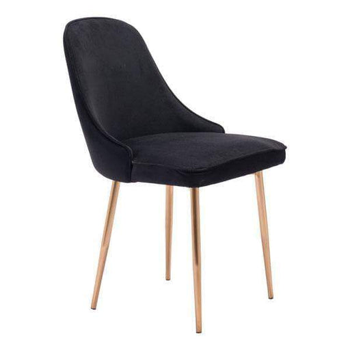 Zuo Modern Dining Chair Black Velvet Merritt Dining Chair