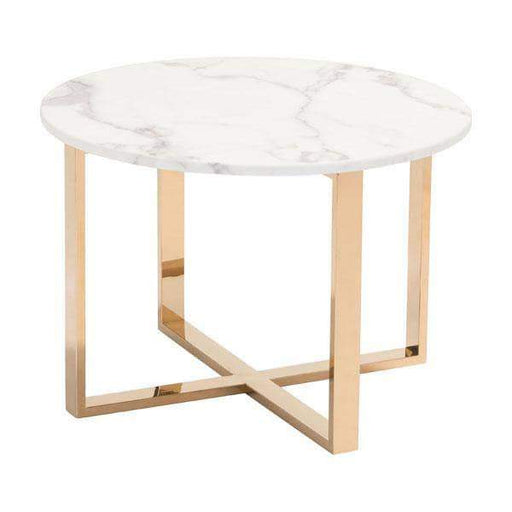 Zuo Modern End Table Gold Globe End Table with Faux Marble Top