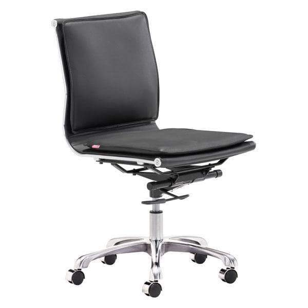 Zuo Modern Office Chair Black Lider Plus Armless Office Chair