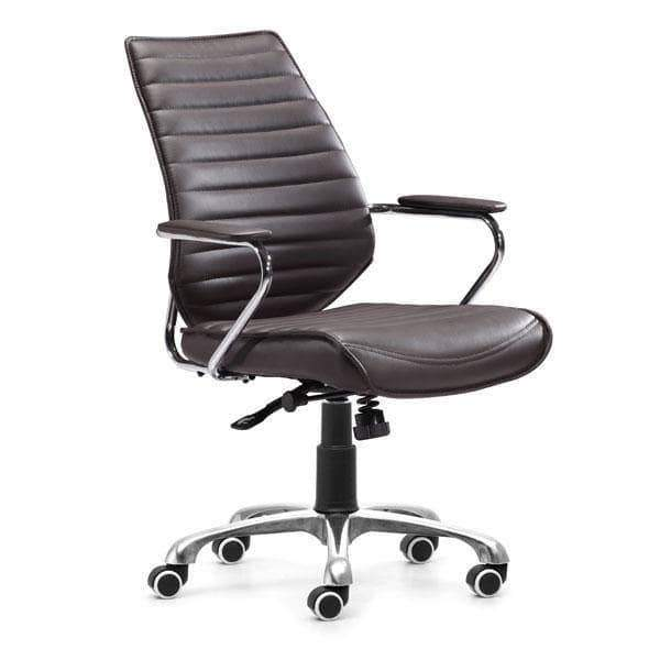 Zuo Modern Office Chair Espresso Enterprise Low Back Office Chair