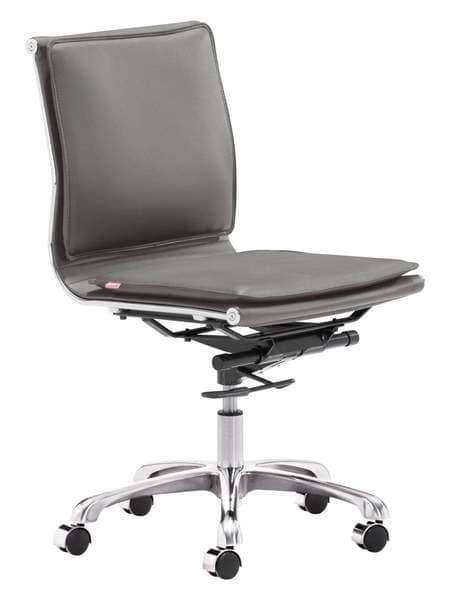 Zuo Modern Office Chair Grey Lider Plus Armless Office Chair