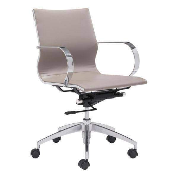 Zuo Modern Office Chair Taupe Glider Low Back Office Chair
