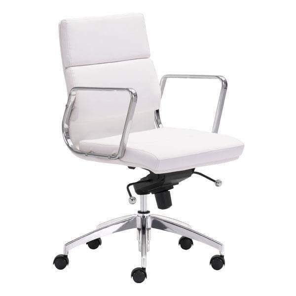 Zuo Modern Office Chair White Engineer Low Back Office Chair
