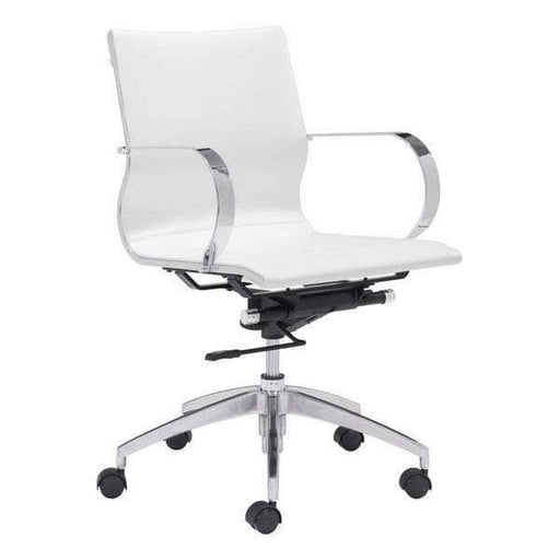 Zuo Modern Office Chair White Glider Low Back Office Chair