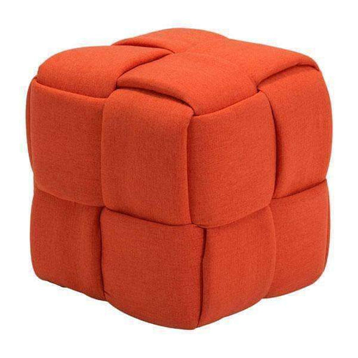 Zuo Modern Orange Checks Stool