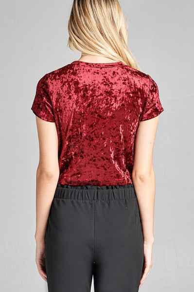 Deep Ruby Velvet Crop Top