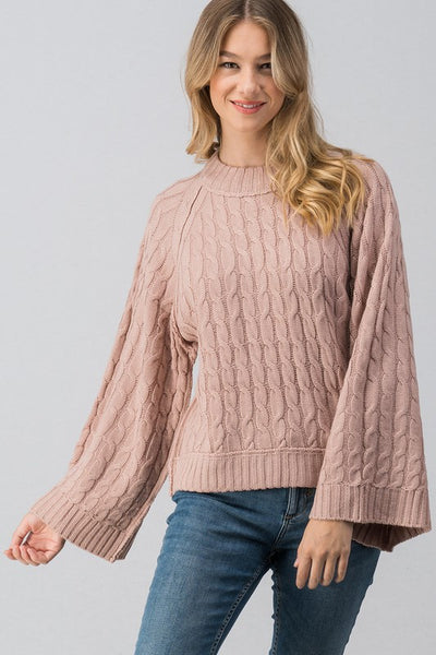 514091122c Dusty Pink Bell Sleeve Cable Knit Sweater – The Teal Hanger Boutique LLC