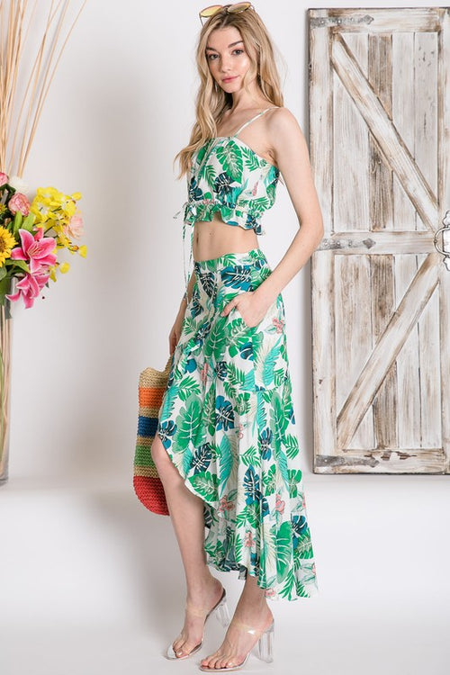 TROPICAL LEAF AND FLORAL CROP MAXI SKIRT SET