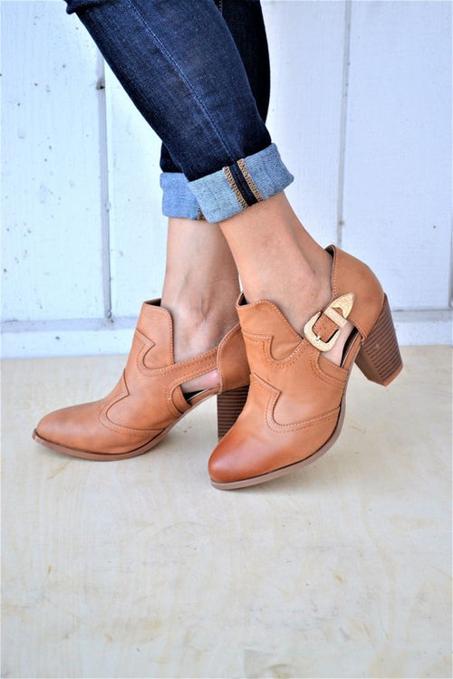 Tan Open Booties