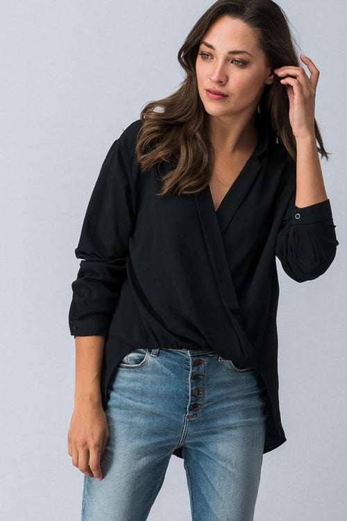 Surplice Collar Long Sleeve Top