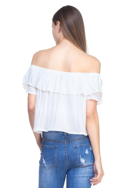 White Off Shoulder Embroidery