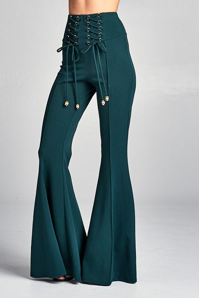 Hunter Green Lace Up Bell Bottom Pants