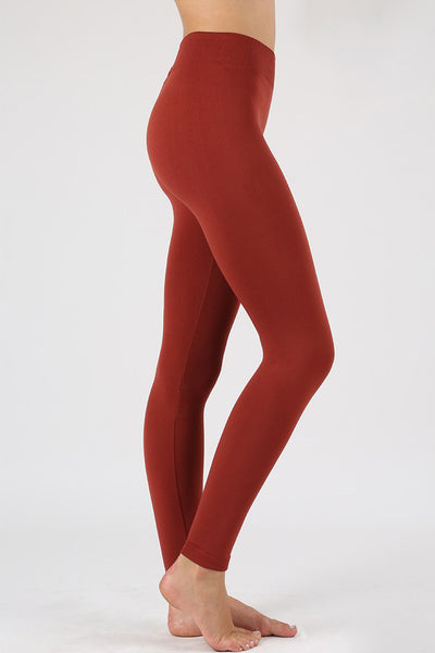 Seamless Fleece Leggings in Dark Rust
