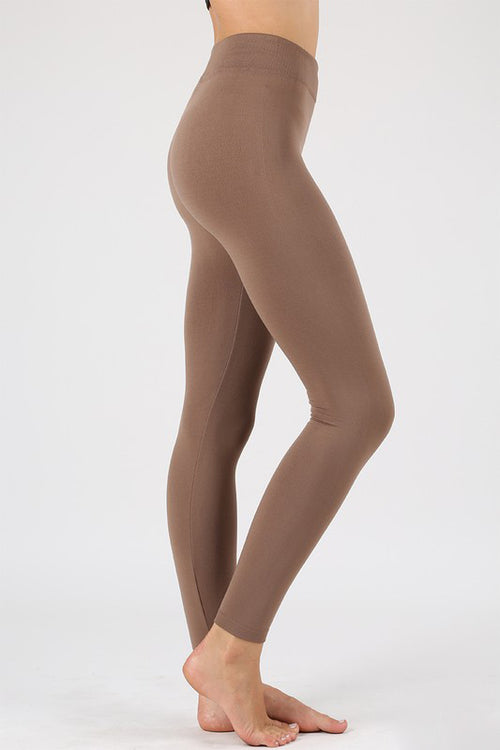 Seamless Fleece Leggings in Mocha