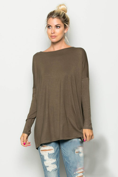 Curvy Piko Style Tobacco Top
