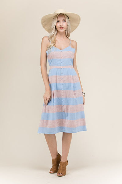 Color Block Pastel Midi Dress