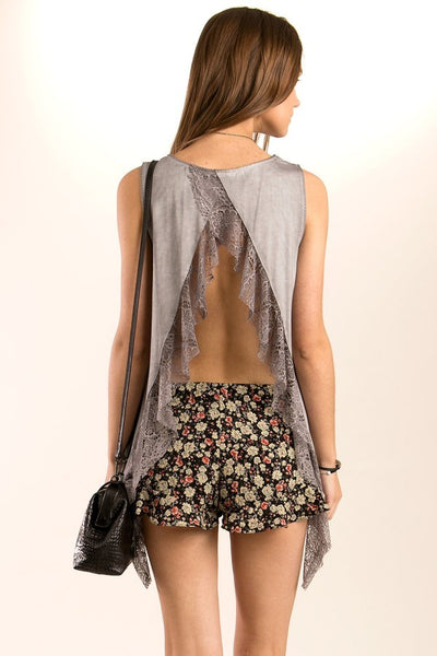 Taupe Open Back Ruffle Top