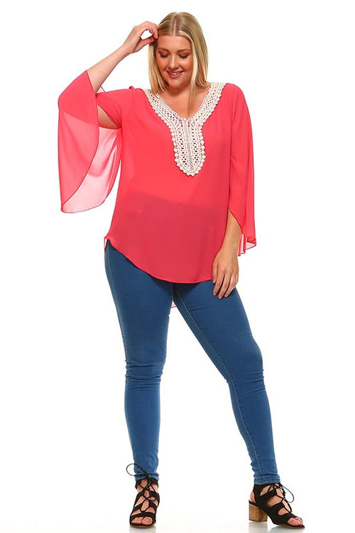Curvy Salmon Flowy Top
