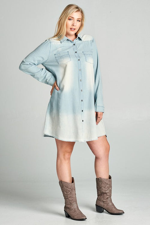 Chambray Plus Shirt Dress