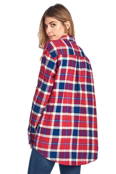 Oversized Plaid Flannel Button Top
