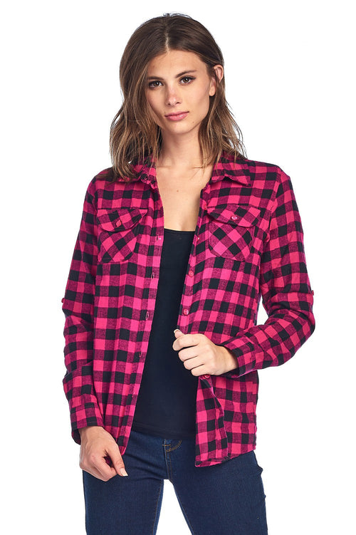 Pink Buffalo Plaid Flannel Button Top