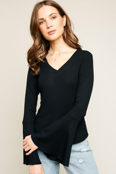 V-Neck Knit Bell Sleeve Top