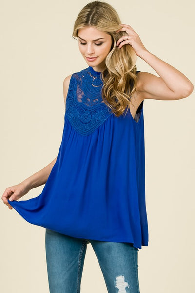Royal Blue Sleeveless Boho Top
