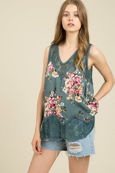 Sage Floral Lace Sleeveless Blouse