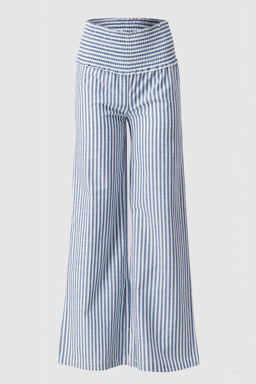 Blue Linen Striped Smocked High Waist Trousers