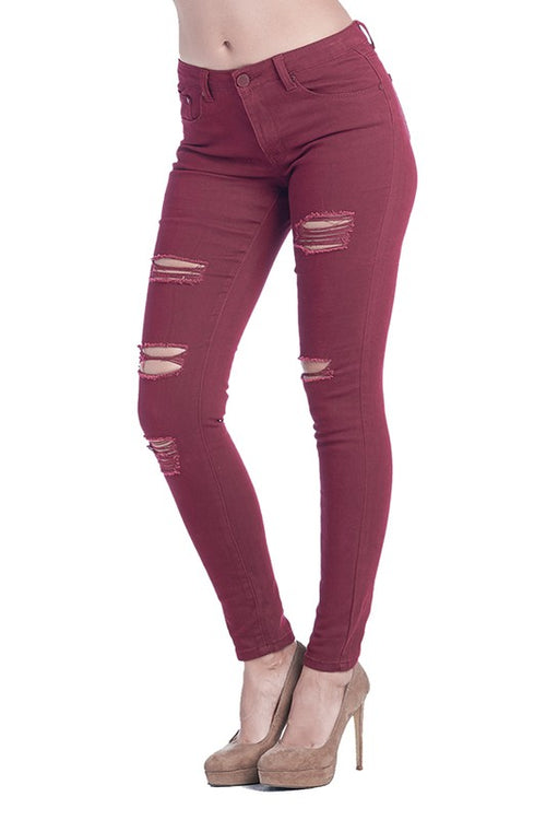 Destroyed Skinny Jeans in Wine