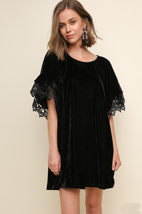 Velvet Dress with Lace Sleeves