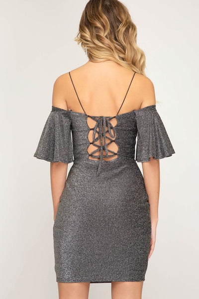 Glitter Lace-Up Dress