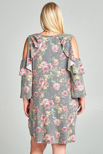 Dusty Floral Cold-Shoulder Plus Dress