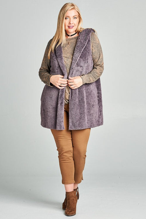 Dusty Purple Faux Fur Open-Front Hooded Vest