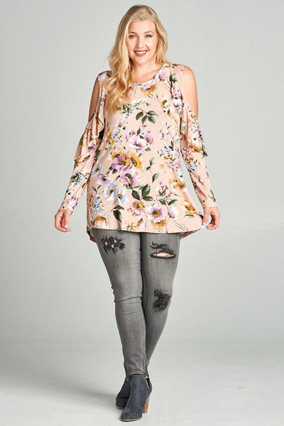Plus Ruffled Blush Floral Top
