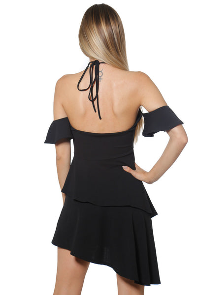 Black Halter Asymetric Dress