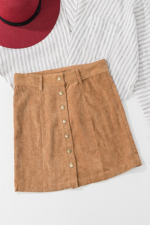 Camel Button Down Corduroy Mini Skirt
